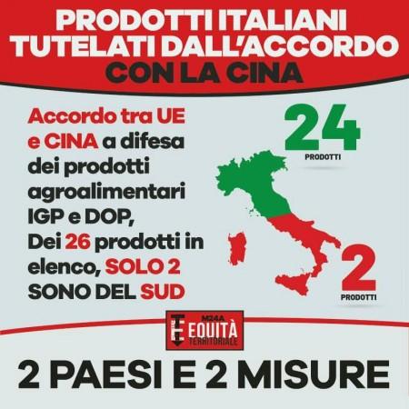 UNA VERGOGNA: SU 26 PRODOTTI ITALIANI TUTELATI DALL'ACCORDO CON LA CINA, SOLO 2 DEL SUD