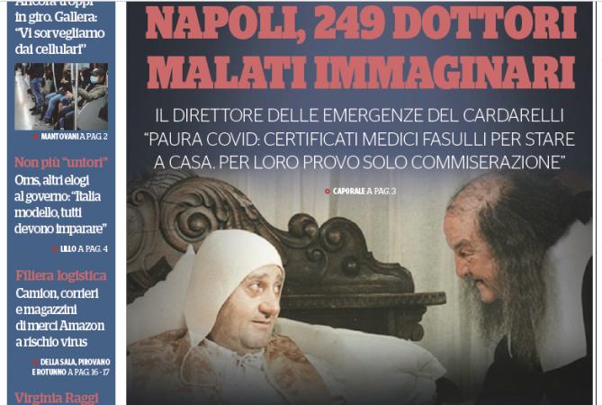 """SBATTI NAPOLI IN PRIMA PAGINA: """"I MEDICI PARTENOPEI SONO ASINI E DISERTORI"""""""