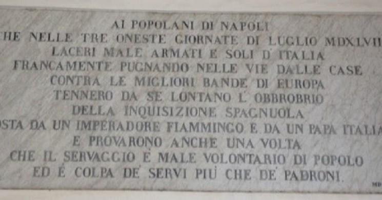 LA LAPIDE CONTRO LA 'SANTA' INQUISIZIONE POSTA ALL'INGRESSO DELLA CERTOSA DI S. MARTINO A NAPOLI