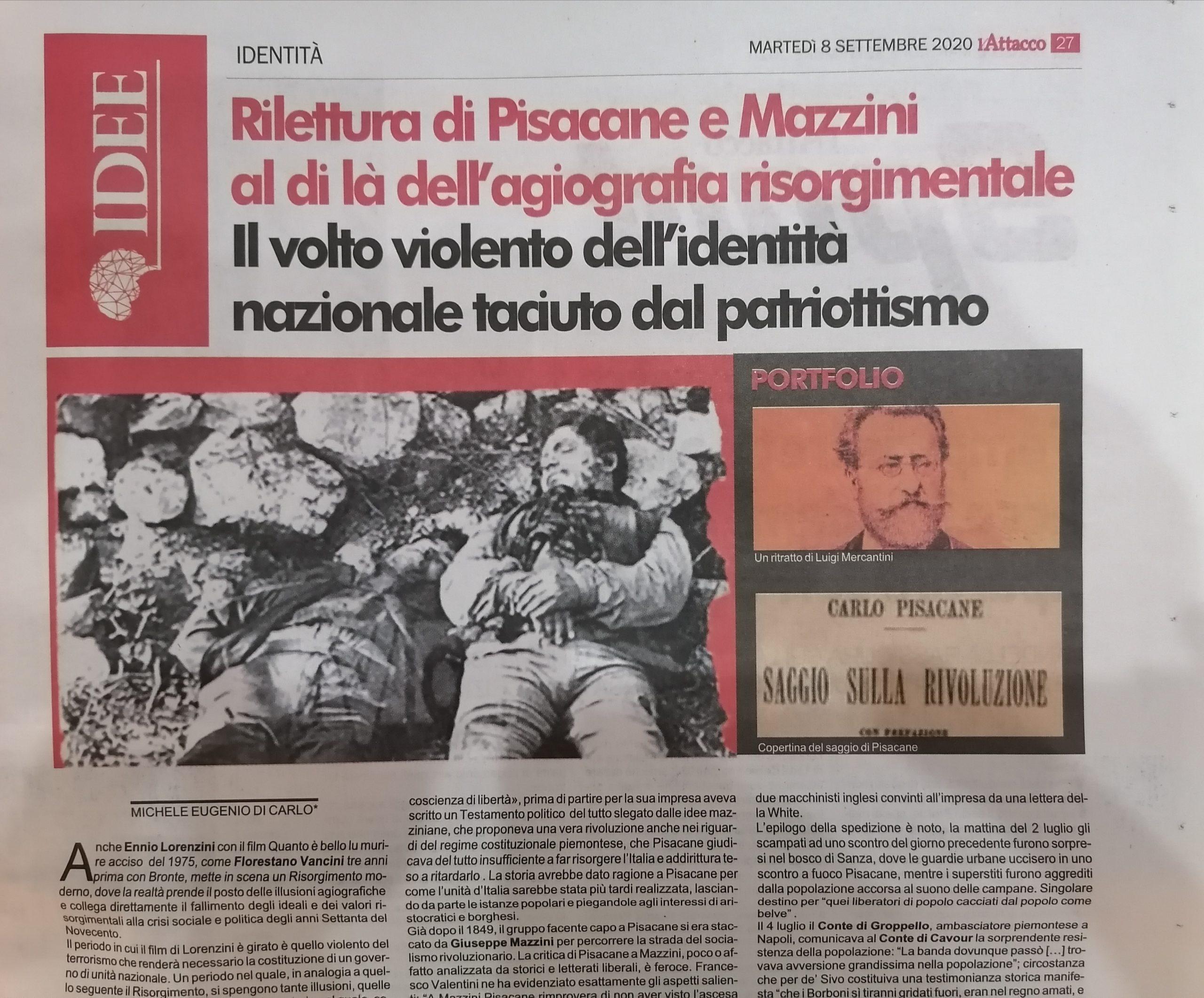 PISACANE E MAZZINI, AL DI LA' DELL'AGIOGRAFIA RISORGIMENTALE