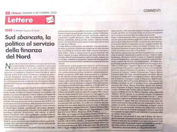 IL SUD SBANCATO: CAUSE E RESPONSABILITA' DELLA POLITICA AL SERVIZIO DELLA FINANZA DEL NORD