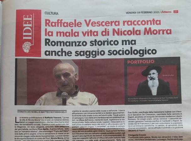 RAFFAELE VESCERA RACCONTA LA MALA VITA DI NICOLA MORRA, UN ROMANZO CHE NON NARRA L'OBLIO