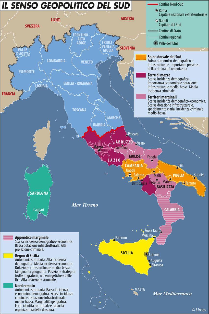 """LIMES: """"IL CREPUSCOLO DEL MEZZOGIORNO SPACCA L'ITALIA"""". Secondo la rivista di geopolitica """"il ripido declino del Sud, accentuato dal Covid-19, si riflette sulla tenuta dell'interopaese"""""""